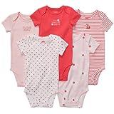 Carters Baby Girls 5 Pack Short Sleeve Bodysuit Set (3 Months, Coral Multi)