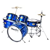 Mendini MJDS-5-BL Complete 16-Inch 5-Piece Blue Junior Drum Set with Cymbals, Drumsticks and Adjustable Throne