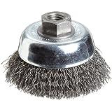 Weiler Vortex Pro Wire Cup Brush, Threaded Hole, Carbon Steel, Crimped Wire