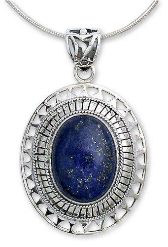 Lapis lazuli pendant necklace, 'Tribal Medallion'