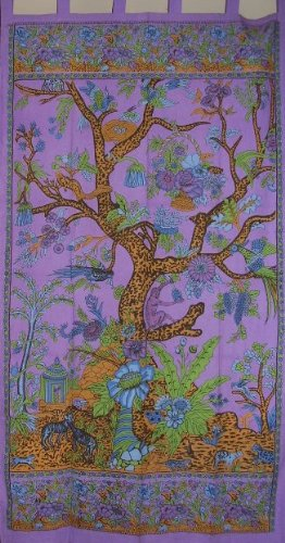 Tree of Life Tab Top Curtian-Drape-Door Panel-Purple