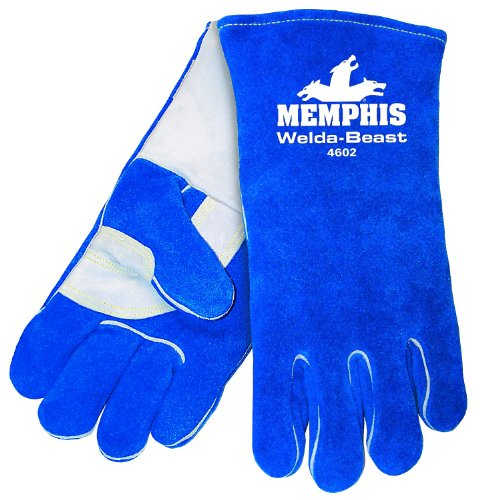 MCR Safety 4602 14-Inch Weld-A-Beast Side Split Cow Leather Welder Men's Gloves with Foam Lining and Reinforced Wing Thumb, Blue, X-Large