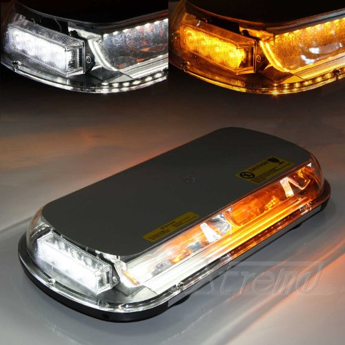 Xtreme® White & Yellow 44 Led High Intensity Law Enforcement Emergency Hazard Warning Flashing Car Truck Construction Led Top Roof Mini Bar Strobe Light With Magnetic Base (White&Amber/Yellow)