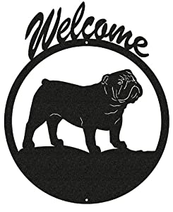 ENGLISH BULLDOG Black Metal Welcome Sign ~NEW~