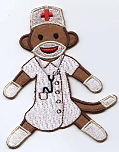 Sock Monkey NURSE Iron On Embroidered Patch