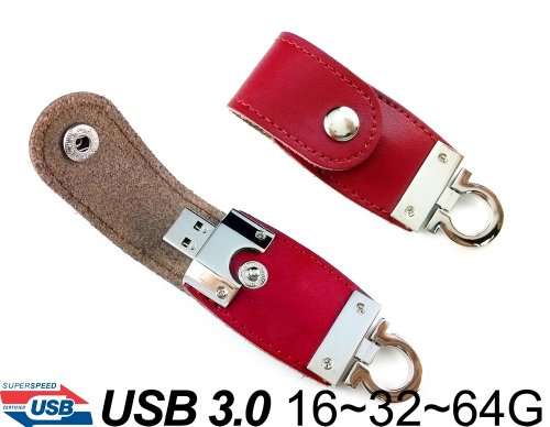 ForTech® Grizzly Leather USB 3.0 Flash Drive 16GB/32GB/64GB Pen Drive, USB 3.0 USB Key Chain, Compatible with USB 2.0 (Red)