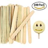 "Acerich 200 Pcs Craft Sticks Ice Cream Sticks Wooden Popsicle Sticks 4-1/2"" Length Treat Sticks Ice Pop Sticks"
