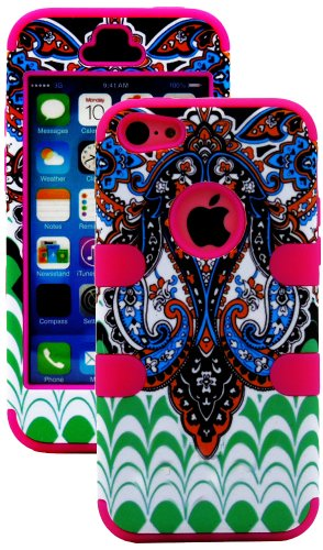 Mylife (Tm) Hot Pink + Colorful Abstract Paisleys 3 Layer (Hybrid Flex Gel) Grip Case For New Apple Iphone 5C Touch Phone (External 2 Piece Full Body Defender Armor Rubberized Shell + Internal Gel Fit Silicone Flex Protector + Lifetime Waranty + Sealed In