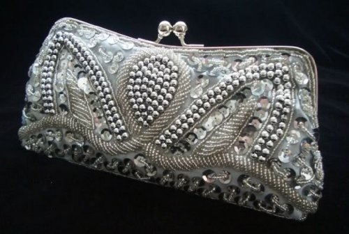 Silver Evening Handbag Beads Sequin Clutch Purse Party Bridal Prom
