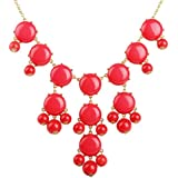 Jane Stone Bubble Bib Necklace Coral Red Bubble Statement Frontal Jewelry