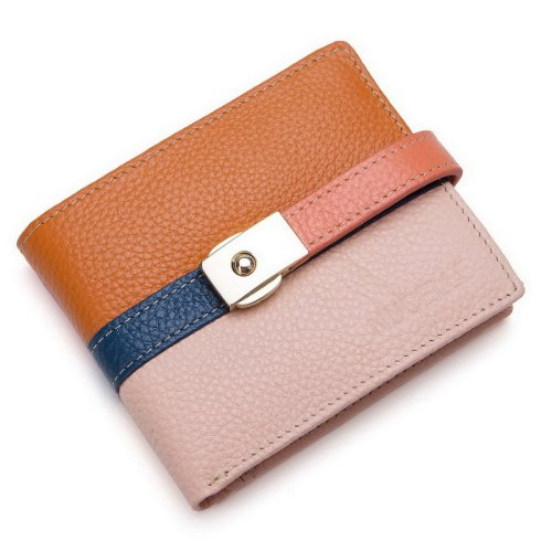 Jane Eyre Series Contrast Color Women'S Soft Leather Wallet & Purse (Pink And Brown)
