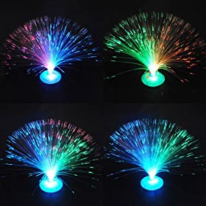 Well-Goal Fiber Optic light Lamp LED Color Changing Blue Stand Night Xmas Party Wedding Decoration by  from Well-Goal