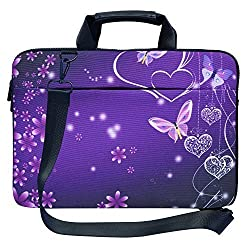 Meffort Inc 17 17.3 inch Canvas Laptop Shoulder & Hand Carrying Bag Case with Side Protection - Purple Heart Butterflies