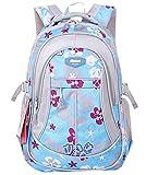 JiaYou Kid Child Girl Flower Printed Waterproof Backpack School Bag(Blue,Large)