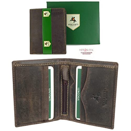 VISCONTI Small Boxed Mens Hunter Slimline Leather Wallet with 6 Card Slots Oil Brown 705