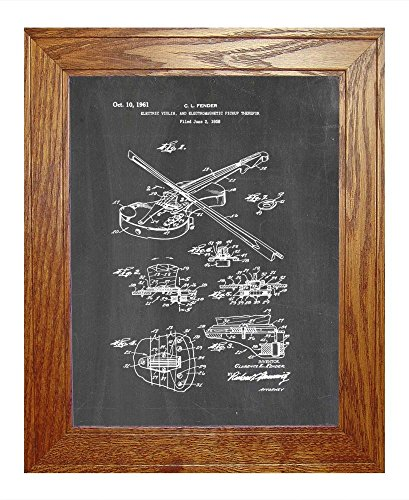 "Electric Violin Electromagnetic Pickup Patent Art Chalkboard Print In A Honey Red Oak Wood Frame (8.5"" X 11"")"