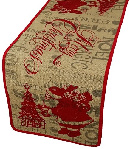 Xia Home Fashions Saint Nick Printed Burlap Christmas Table Runner, 14 by 36-Inch