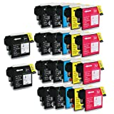 Shop At 247 Compatible Ink Cartridge Replacement for Brother High Yield LC65 (10 Black, 4 Cyan, 4 Yellow, 4 Magenta, 22-Pack)