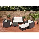 CLP Polyrattan XL Gartengarnitur 2-1-1 inkl. 6 cm dicken Sitz- & Rückenkissen (aus bis zu 5 Rattan-Farben wählen) schwarz