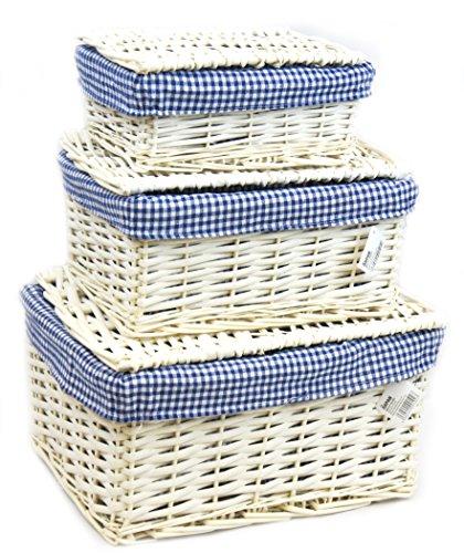 Arpan - Set di 3 ceste con coperchio in vimini, con fodera blu, multiuso