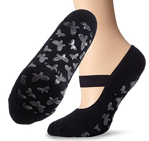Lupo Women's Butterfly Terry No Slip Yoga Barre House Grip Socks, Large Black