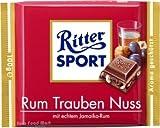 German Ritter Sport Chocolate Raisin Nut - 5 x 100 g