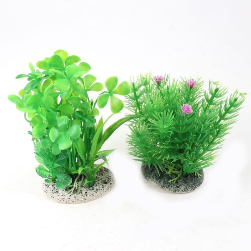 2 Pcs Fish Tank Green Plastic Underwater Plants Water Grass Ornament repairing abs water pipe connector adapter grass green