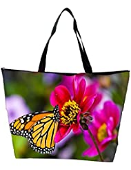 Snoogg Yellow Butterfly In Shoo Flower Designer Waterproof Bag Made Of High Strength Nylon