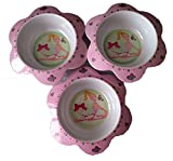 Pink Bowl with Ballerina Design and Flower Petal Shape - set of 3 pieces