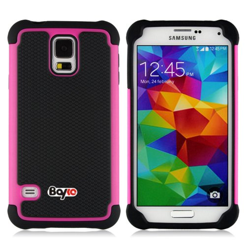 Bayke Brand / Samsung Galaxy S5 SV 2-Piece Armorbox Armor Case High Impact Dual Layer Hybrid Protective Case With Inner Soft Silicone Shell (Hot Pink)