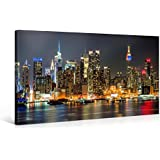 ILLUMINATED MANHATTAN - Premium Canvas Art Print - 40x20 inch Large New York Cityscape Wall Art Deco - Canvas Picture Stretched on Wooden Frame as Modern Gallery Artwork / e4348
