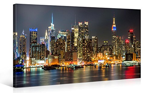 Large Canvas Print Wall Art - MANHATTAN NIGHT LIGHTS - New York Cityscape Canvas Picture Stretched On A Wooden Frame - Giclee Canvas Printing - Hanging Wall Deco Picture / s4348 (40x20) (New York Picture Frame compare prices)