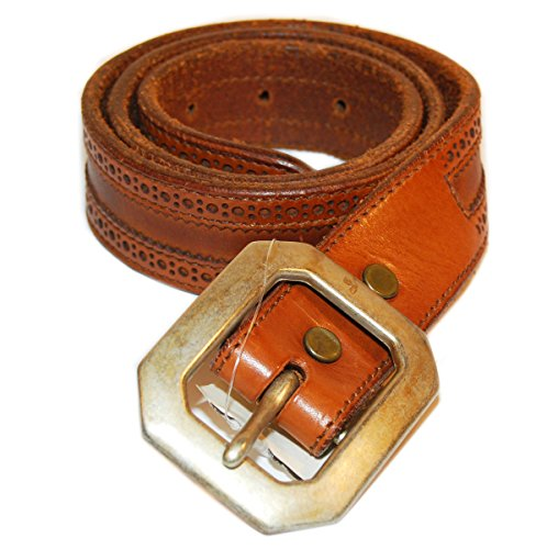 Ralph Lauren RRL Mens Vintage Western Tooled Leather Belt Italy Cognac Brown 28