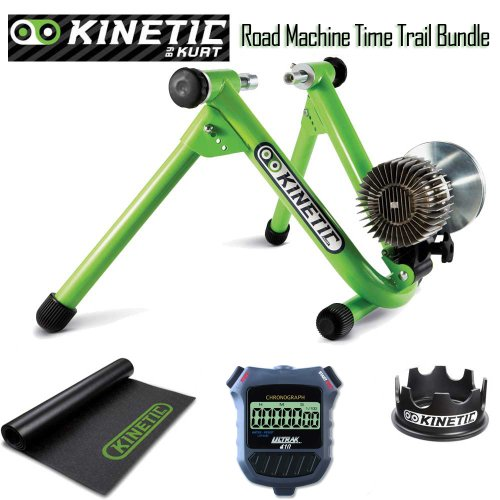 Kinetic Roadmachine Fluid Trainer Bundle - Including Fixed Riser Ring, Bike Trainer Floor Mat, and Ultrak Simple Event Timer Stopwatch