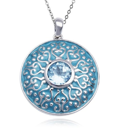 Sterling Silver Blue Topaz and Epoxy Round Pendant Necklace , 18