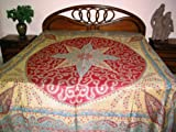 Jamawar Pashmina Reversible Bedspreads with Cream Chestnut Red India King T ....