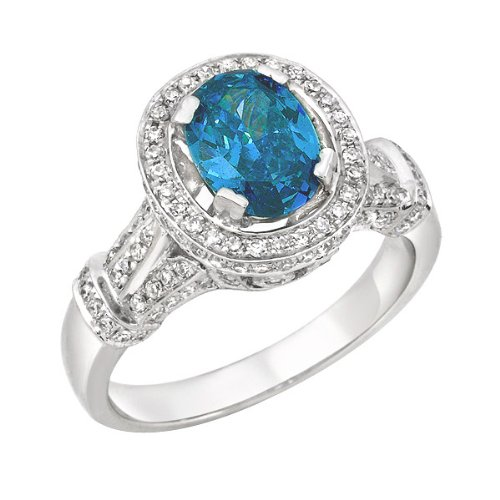 1.08 CT Blue Round Center Diamond. Ring, Size 7. Blue Center Clarity: I1. . Treatment codes: Blue Center: F,GBlue Center Clarity: I1 , grams setting