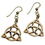 Delicate Triquetra Trinity Knot Peace Bronze Earrings on French Hooks