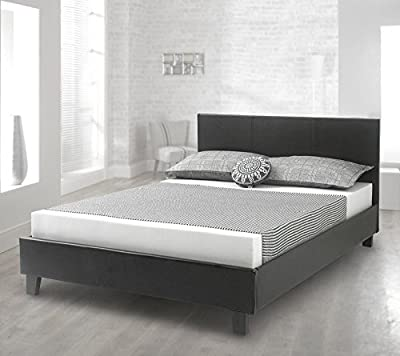 Happy Beds Bed Prado Faux Leather Contemporary Solid Timber Sleigh Frame Mattresses