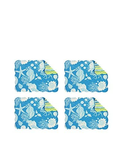 Set of 4 Quilted Scalloped Placemats, Blue Shells