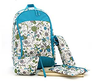 diaper backpack bags printing floral travel bag 4 in 1 12 6 x 8 x 17 7 baby. Black Bedroom Furniture Sets. Home Design Ideas