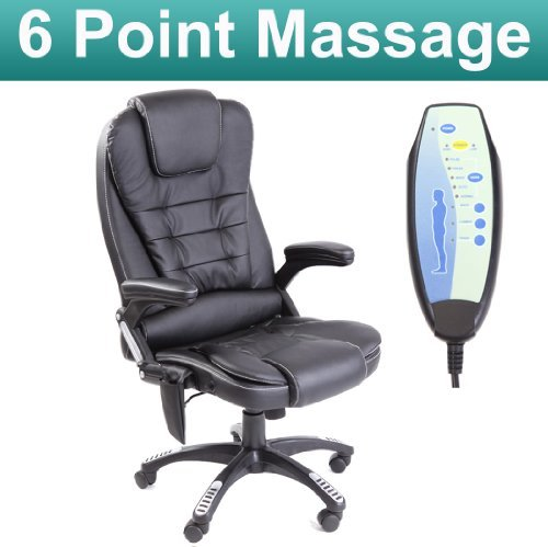 RIO BLACK RECLINING MASSAGE LEATHER OFFICE CHAIR w 6 POINT MASSAGE HIGH BACK COMPUTER DESK 360 SWIVEL