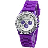 Geneva Women's Fashion Crystal Case Purple Silicone Band Quartz Wrist Watch Jelly Watches Gifts