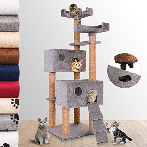 JakoCat-Mittelhoher-Katzenkratzbaum-Katze-Kratzbaum-152-cm-hoch-mit-Schnellverschluss-2-Hhlen-und-1-Leiter-Kokosseilumwicklung-an-den-Stmmen-in-der-Farbe-Ihrer-Wahl-Grau