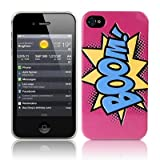 iPhone 4S / iPhone 4 Comic Capers BOOM Pink/Blue/Yellow Hard Back Cover Case / Shell / Shieldby CallCandy