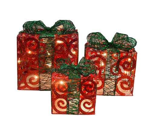 NorthLight Lighted Red Swirl Gift Boxes, Set Of 3