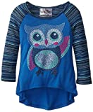 Beautees Little Girls Hi Lo Solid Stripe Top With Owl