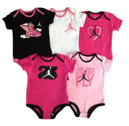 Nike Jordan Infant New Born Baby Boy Lap Shoulder Bodysuit 5 PCS with Different Color and