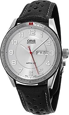 Oris Artix GT Day Date Silver Dial Black Leather Mens Watch 01 735 7662 4461-07 5 21 87 FC