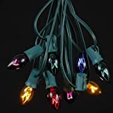 25 Foot C7 Twinkle Outdoor Lighting Christmas String Lights - Multi - Green Wire - 25 Bulbs
